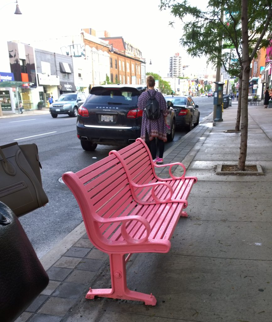 The pink bench outside the boutique